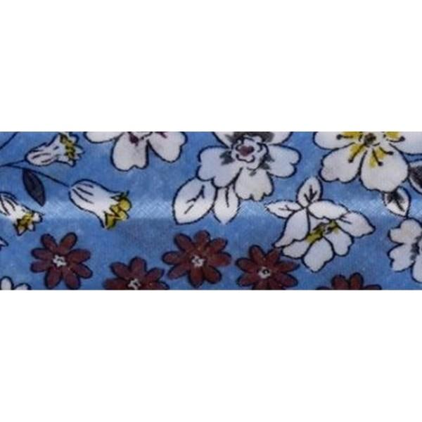 Biais replié Fleuri - 20 mm - Bleu Ciel - Au mètre - Photo n°1