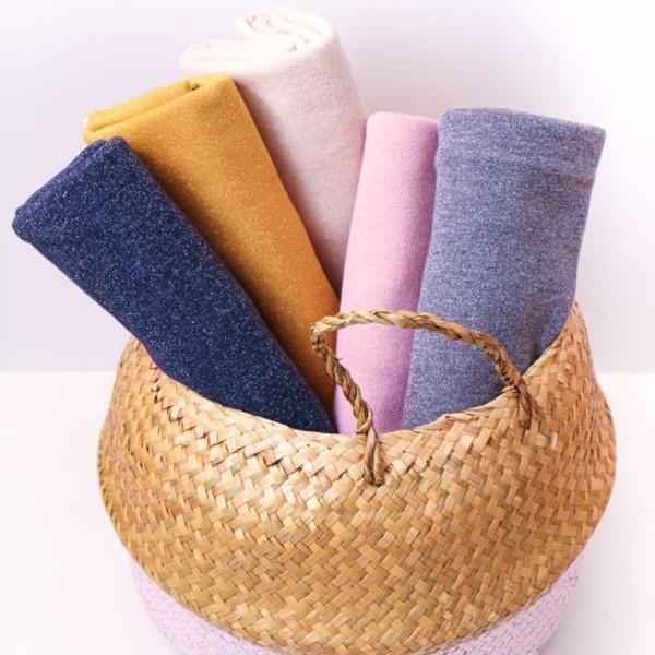 Coupon de tissu Jersey Sweat - Lurex - Rose - 145 x 60 cm - Photo n°3