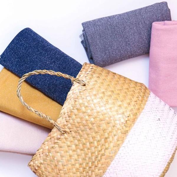 Coupon de tissu Jersey Sweat - Lurex - Rose - 145 x 60 cm - Photo n°5