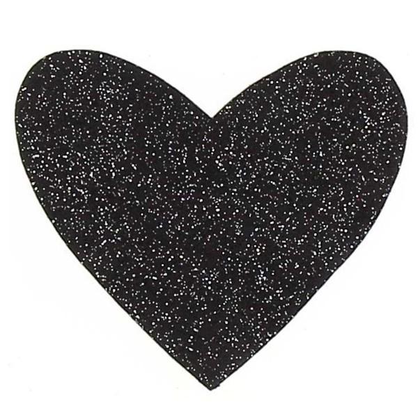 Motif thermocollant - Coeur noir pailleté - 9 x 8 cm - Photo n°1