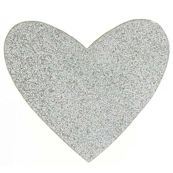 Motif thermocollant - Coeur Argenté pailleté - 9 x 8 cm - Photo n°1