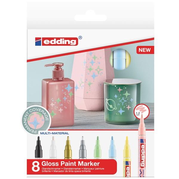 Marqueurs Peinture Edding 751 Pointe Fine - Métallique et Pastel - 8 pcs - Photo n°1