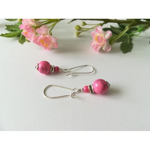 Kit boucles d'oreilles apprêt argenté et perle rose tréfilé noir - Photo n°1