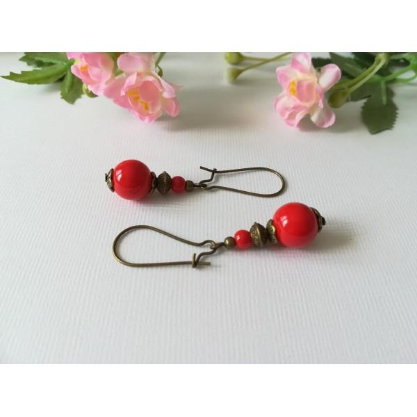 Kit boucles d'oreilles perle rouge et apprêts bronze - Photo n°1