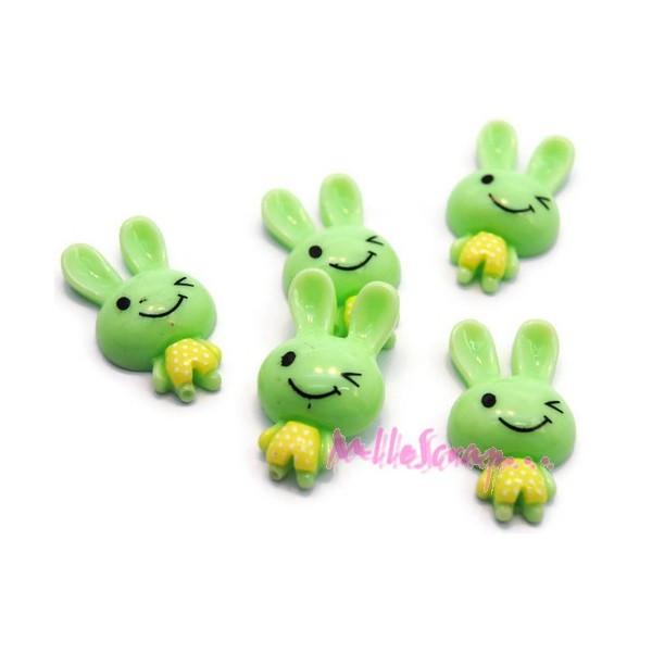 Cabochons lapins résine vert clair - 5 pièces - Photo n°1