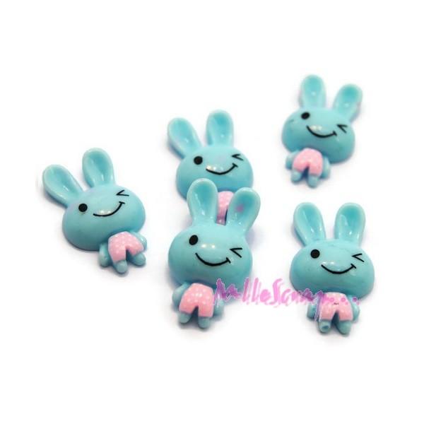 Cabochons lapins résine bleu clair - 5 pièces - Photo n°1