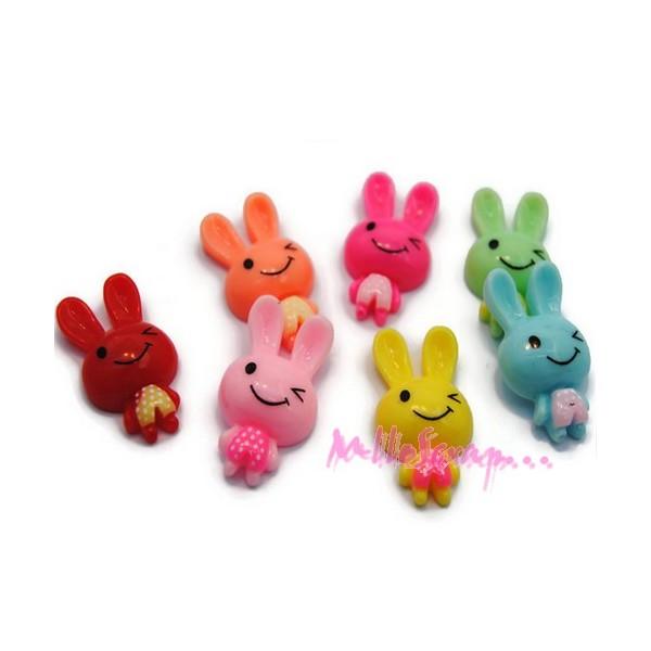 Cabochons lapins résine multicolore - 7 pièces - Photo n°1