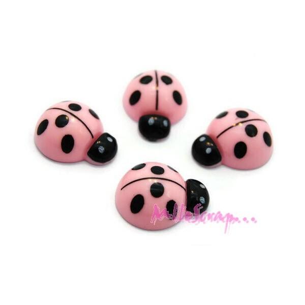 Cabochons coccinelles résine rose - 4 pièces - Photo n°1