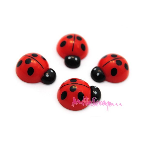 Cabochons coccinelles résine rouge - 4 pièces - Photo n°1