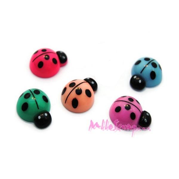 Cabochons coccinelles résine multicolore - 5 pièces - Photo n°1