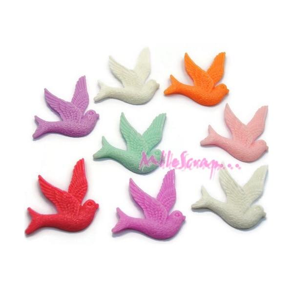 Cabochons oiseaux résine multicolore - 8 pièces - Photo n°1