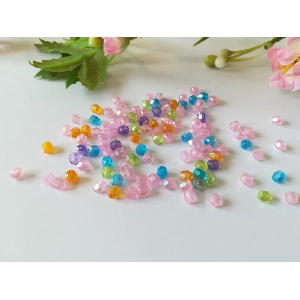 Perles acrylique à facette 4 mm multicolore x 300 - Photo n°1
