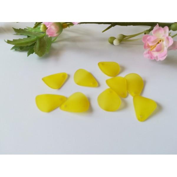 Perles acrylique pétale jaune dépolie x 20 - Photo n°1