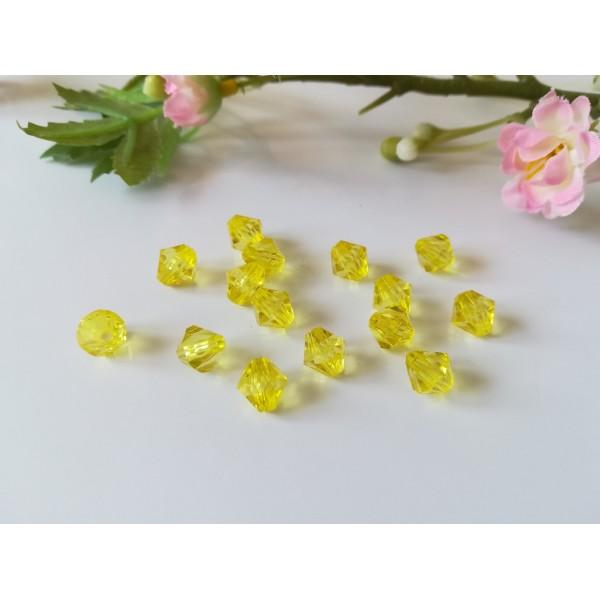 Perles acrylique toupie 8 mm jaune x 30 - Photo n°1