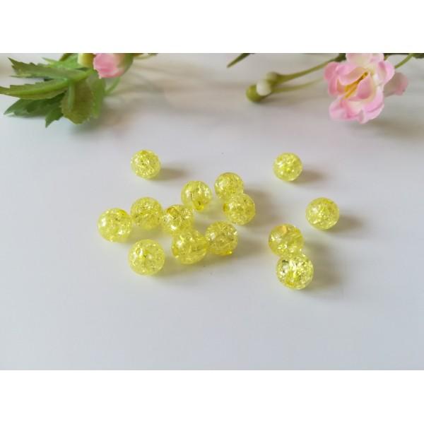 Perles acrylique craquelé 8 mm jaune x 30 - Photo n°1