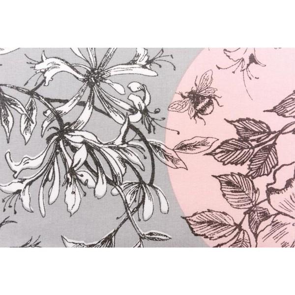 Coupon de Toile Cirée - Inspiration Toile de Jouy - fond Gris et Rose - 50 x 140 cm - Photo n°3