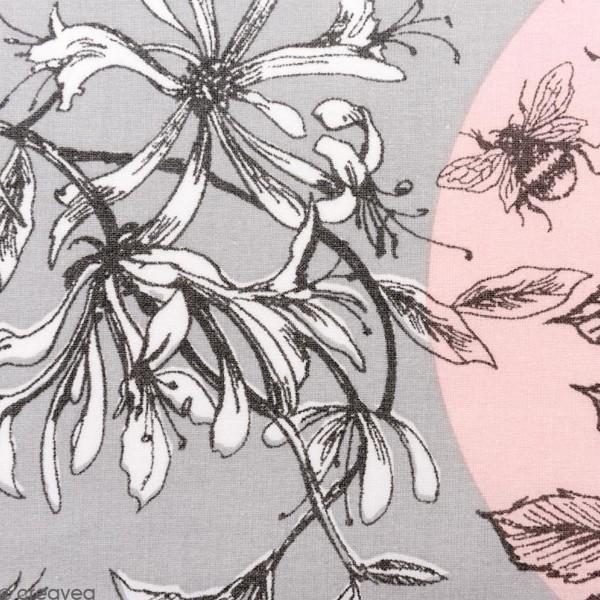 Coupon de Toile Cirée - Inspiration Toile de Jouy - fond Gris et Rose - 50 x 140 cm - Photo n°1
