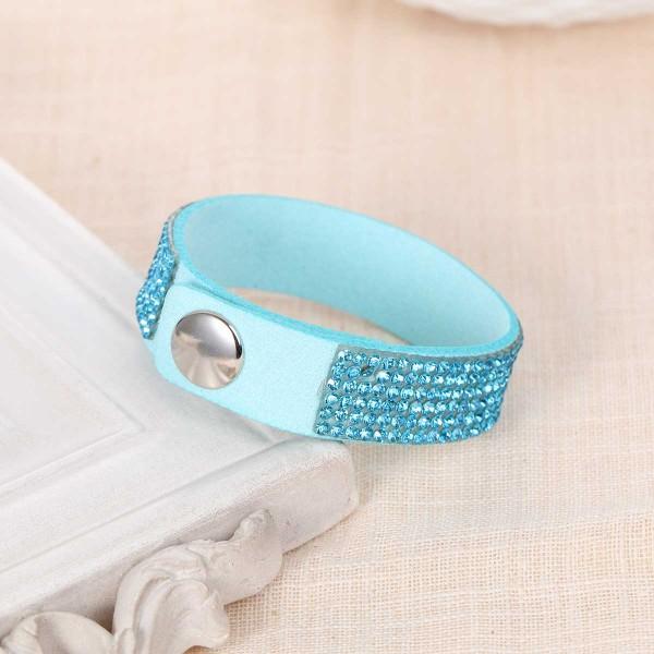 Bracelet suédine réglable bleu et strass brillant - Photo n°2