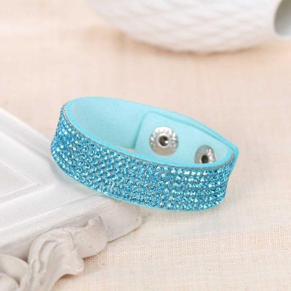 Bracelet suédine réglable bleu et strass brillant - Photo n°1
