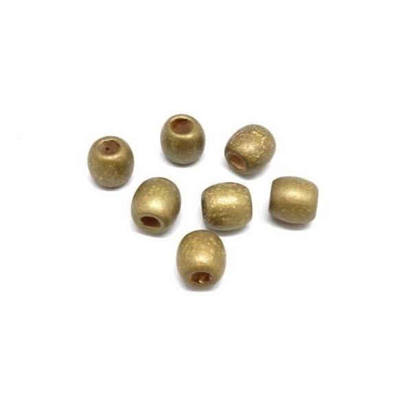 30 Perles En Bois Doré 13mm À Gros Trou - Idéal Création De Noël, Collier, Scrapbooking, Macram - Photo n°4