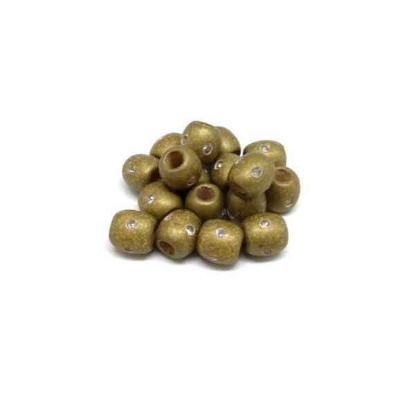 30 Perles En Bois Doré 13mm À Gros Trou Avec Strass - Idéal Création De Noël, Collier, Scrapboo - Photo n°2