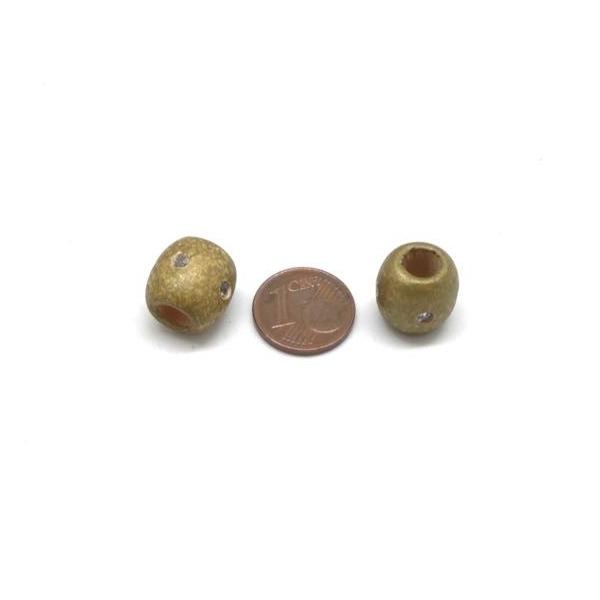 30 Perles En Bois Doré 13mm À Gros Trou Avec Strass - Idéal Création De Noël, Collier, Scrapboo - Photo n°3