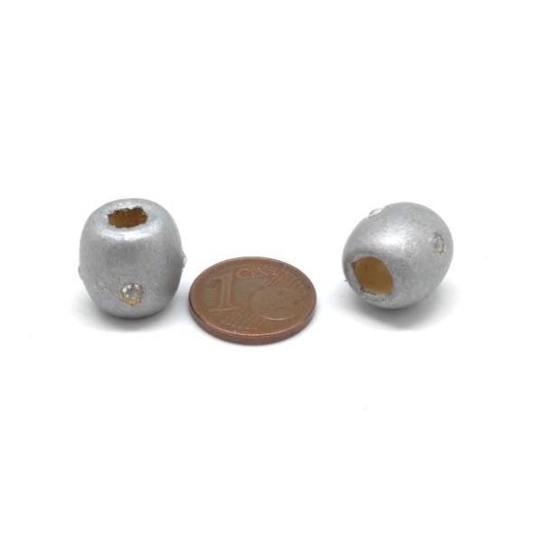 30 Perles En Bois Argenté 13mm À Gros Trou Avec Strass - Idéal Création De Noël, Collier, Scrap - Photo n°3
