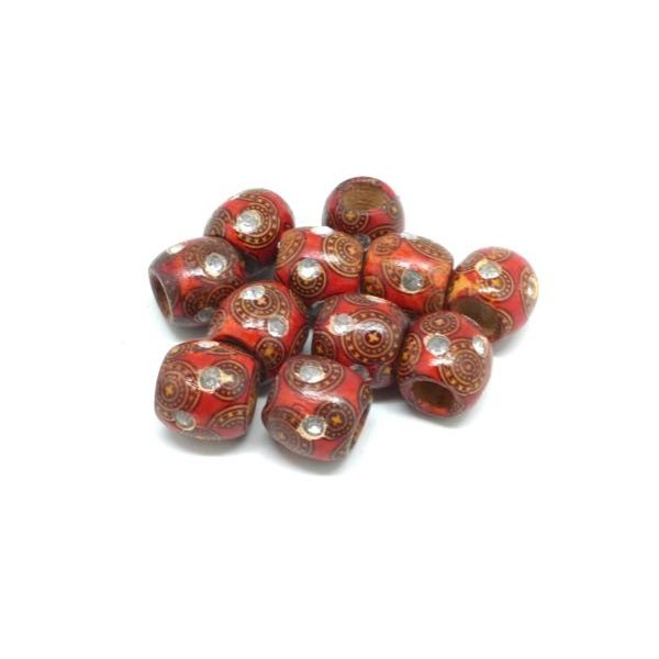20 Perles En Bois Rouge À Motif Avec Strass 15mm À Gros Trou - Idéal Création De Noël, Collier, - Photo n°2