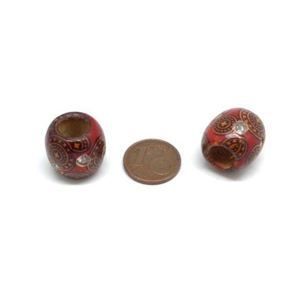 20 Perles En Bois Rouge À Motif Avec Strass 15mm À Gros Trou - Idéal Création De Noël, Collier, - Photo n°3