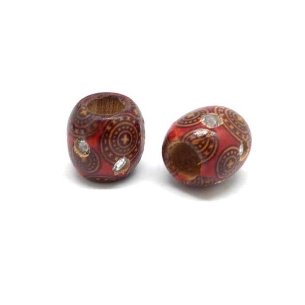20 Perles En Bois Rouge À Motif Avec Strass 15mm À Gros Trou - Idéal Création De Noël, Collier, - Photo n°4