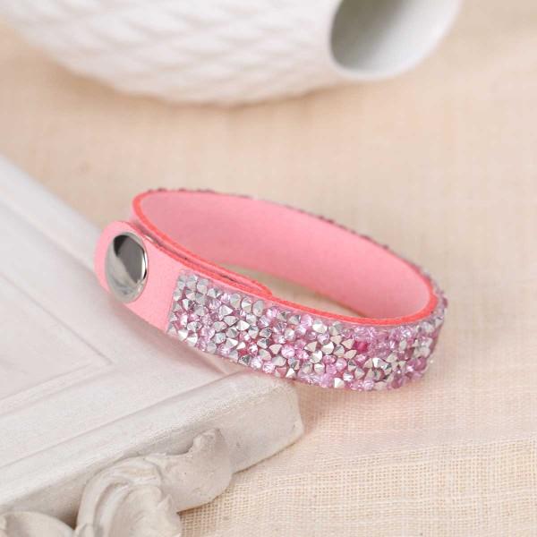 Bracelet suédine réglable rose et strass - Photo n°2