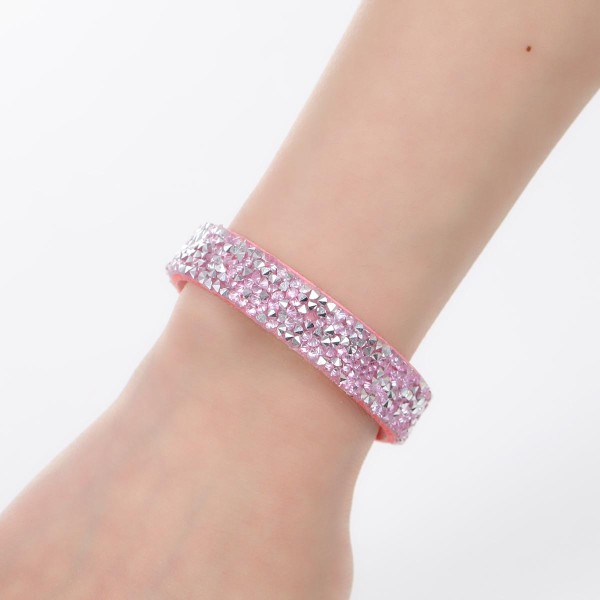 Bracelet suédine réglable rose et strass - Photo n°3