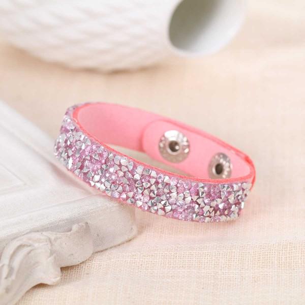 Bracelet suédine réglable rose et strass - Photo n°1