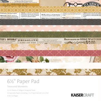 Papiers scrap Treasured -Kaiser Craft- 16,5 x 16,5 cm - 24 feuilles + Die Cut