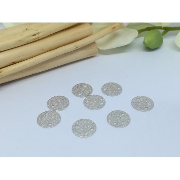 Connecteurs rond métal granuleux 10 mm argent mat x 10 - Photo n°1