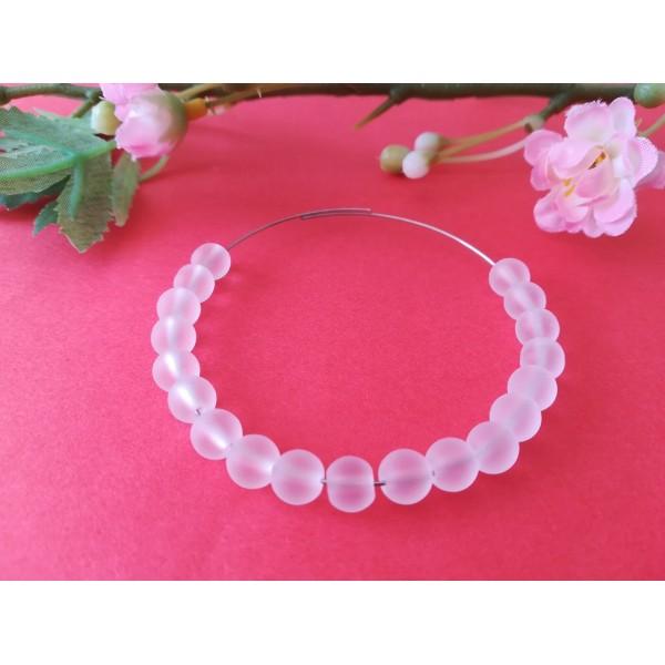 Perles en verre givré 6 mm blanches x 25 - Photo n°1