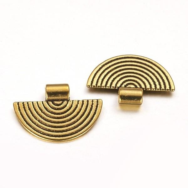 Pendentif métal demi rond doré 25 mm x 2 - Photo n°2