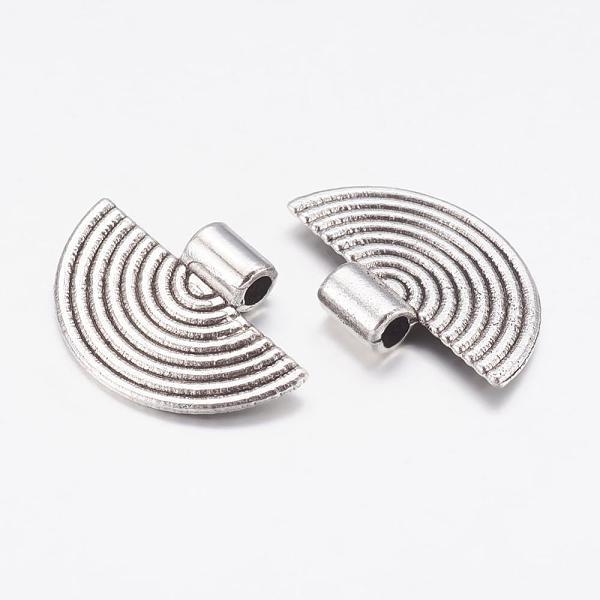 Pendentif métal demi rond argent mat 25 mm x 2 - Photo n°2