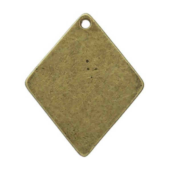 Pendentif métal losange bronze 29 x 24 mm x 2 - Photo n°2