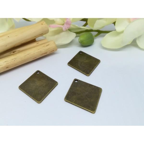 Pendentif métal losange bronze 29 x 24 mm x 2 - Photo n°3