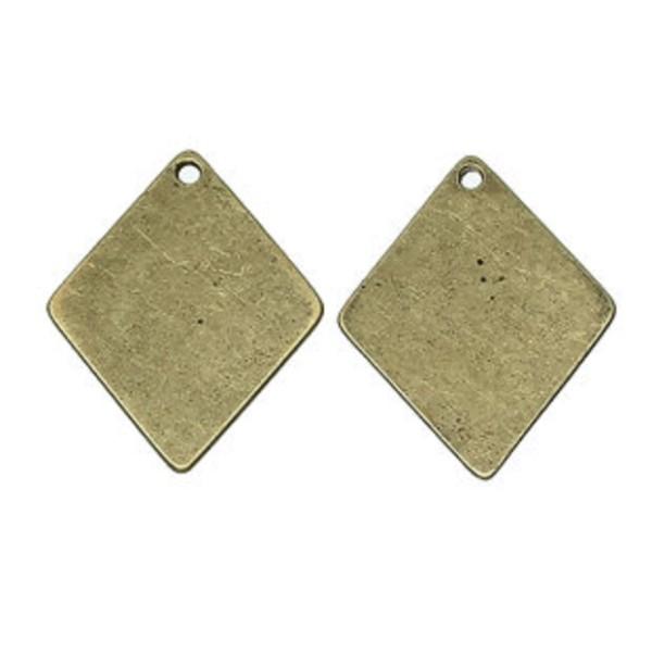 Pendentif métal losange bronze 29 x 24 mm x 2 - Photo n°1