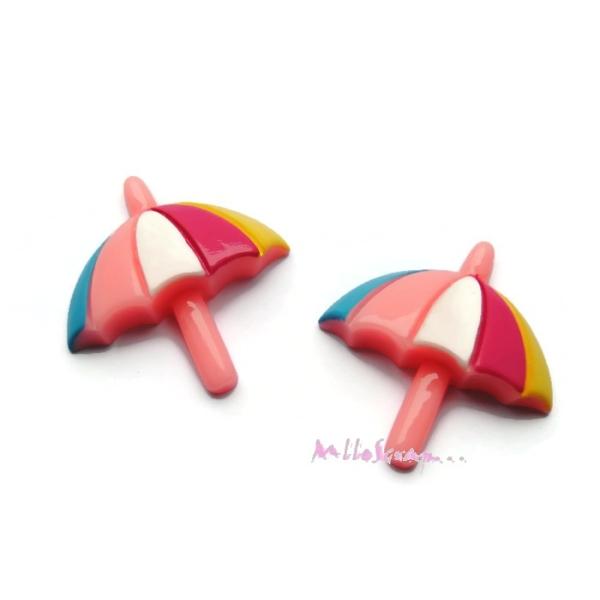 Cabochons parasols résine multicolore - 2 pièces - Photo n°1