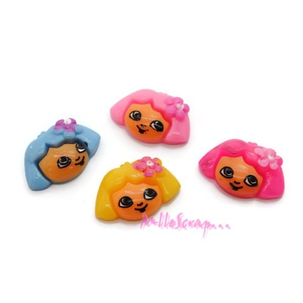 Cabochons petites filles résine multicolore - 4 pièces - Photo n°1