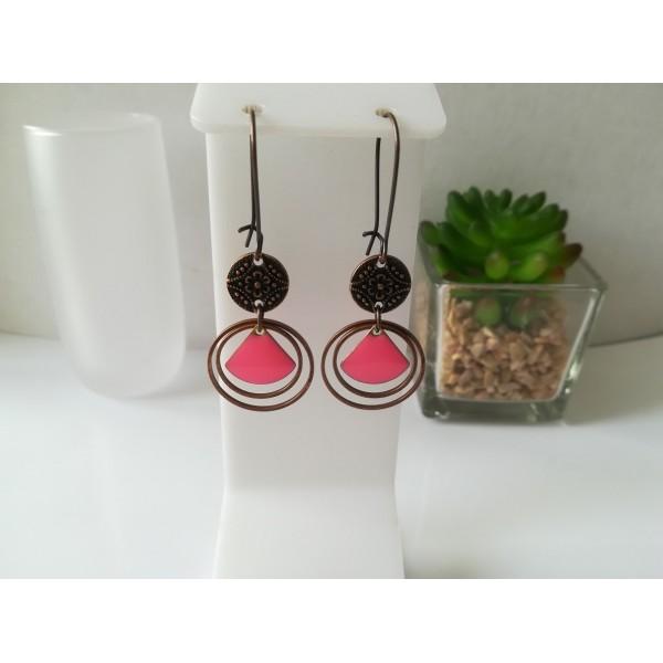 Kit boucles d'oreilles anneaux cuivre rouge et sequin émail rose vif - Photo n°1
