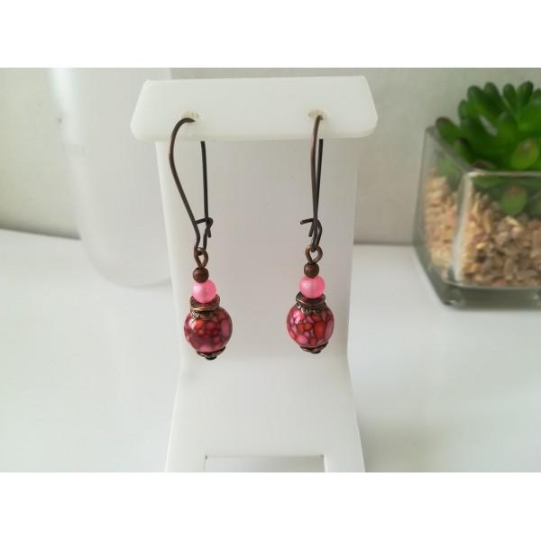 Kit boucles d'oreilles apprêts cuivre et perle à motif rose et rouge - Photo n°1