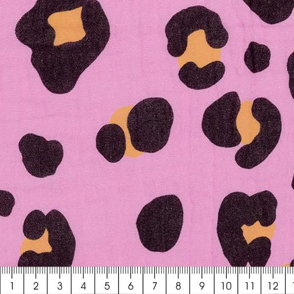 Tissu double gaze de coton Rico Design - Motif Léopard Rose - Vendu par 10 cm - Photo n°3