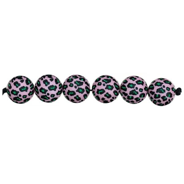 Lot de perles rondes fantaisies 16 mm - Motif Léopard Rose/Vert - 6 pcs - Photo n°2