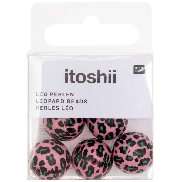 Lot de perles rondes fantaisies 16 mm - Motif Léopard Rose/Vert - 6 pcs - Photo n°3