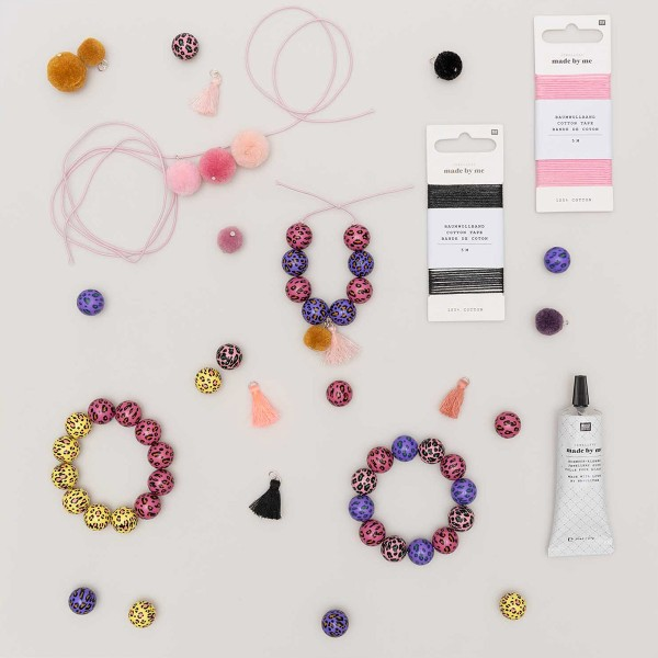 Lot de perles rondes fantaisies 16 mm - Motif Léopard Rose/Vert - 6 pcs - Photo n°4