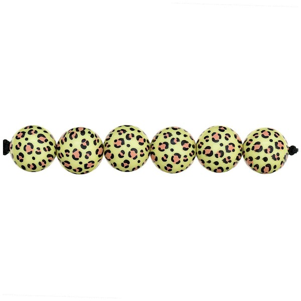 Lot de perles rondes fantaisies 16 mm - Motif Léopard Jaune - 6 pcs - Photo n°2